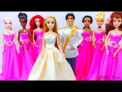 💖BARBIE WEDDING💖PRINCESS DOLL RAPUNZEL WEDDING DRESS💖MORNING ROUTINE BEDROOM DOLLHOUSE DISNEY thumbnail