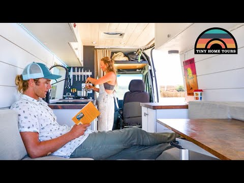 Young Couple Builds DIY CAMPER VAN -  Affordable Beachfront Life In California