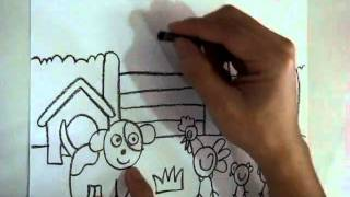 fast drawing farm - animal - horse, cow, dog, chicken