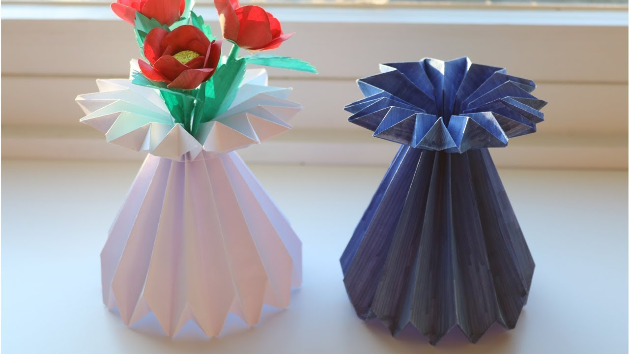 How to make a paper flower vase diy simple paper craft youtube how to make a paper flower vase diy simple paper craft reviewsmspy