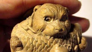 The Bear !!   [ Wood Carving !  The Netsuke ]