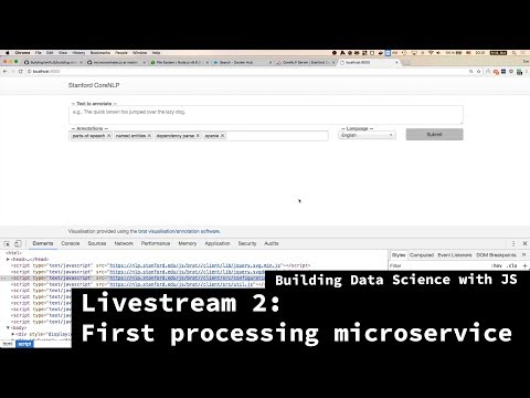 Building Data Science with JS - Livestream 2 - Building first data processing microservice