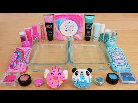 Pink Vs Teal - Mixing Makeup Eyeshadow Into Slime Special Series 212 Satisfying Slime Video