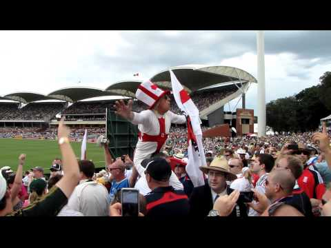Jimmy Saville leads the Barmy Army at Adelaide Oval