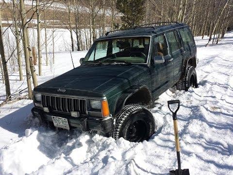 Lifted Jeep Cherokee >> Jeep Cherokee XJ Stuck in snow open diffs 2014-3-23 - YouTube
