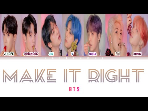 (SUB INDO ) BTS - Make It Right (방탄소년단 - Make It Right) [Color Coded Lyrics Ind/Rom)