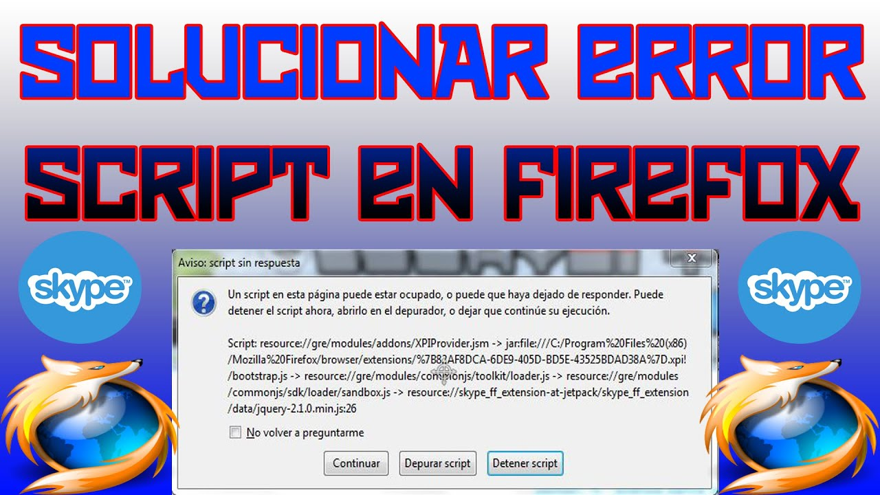 how to fix script errors in firefox
