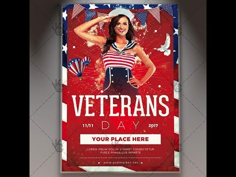 Happy Veterans Day - American Flyer PSD Template