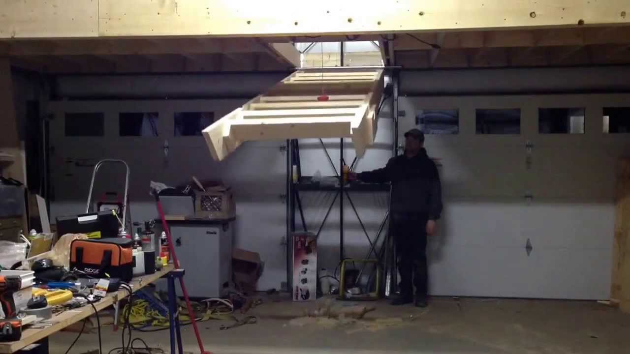 Electric Hoist Operated Garage Loft Stairs Youtube