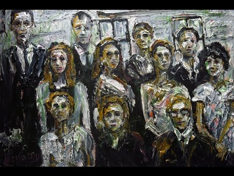 q571 oil painting acrylic large group people modern abstract artwork NYC gallery expressionist.