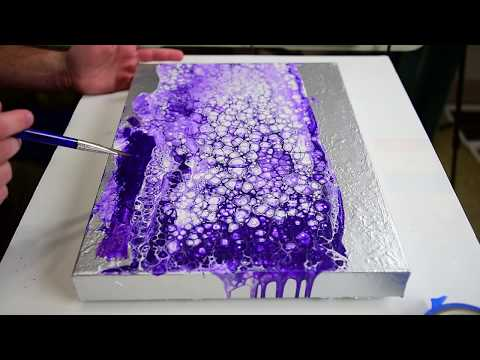 Thick Silver Rocks Poured on Canvas with Purple Swipe - Experiment Only