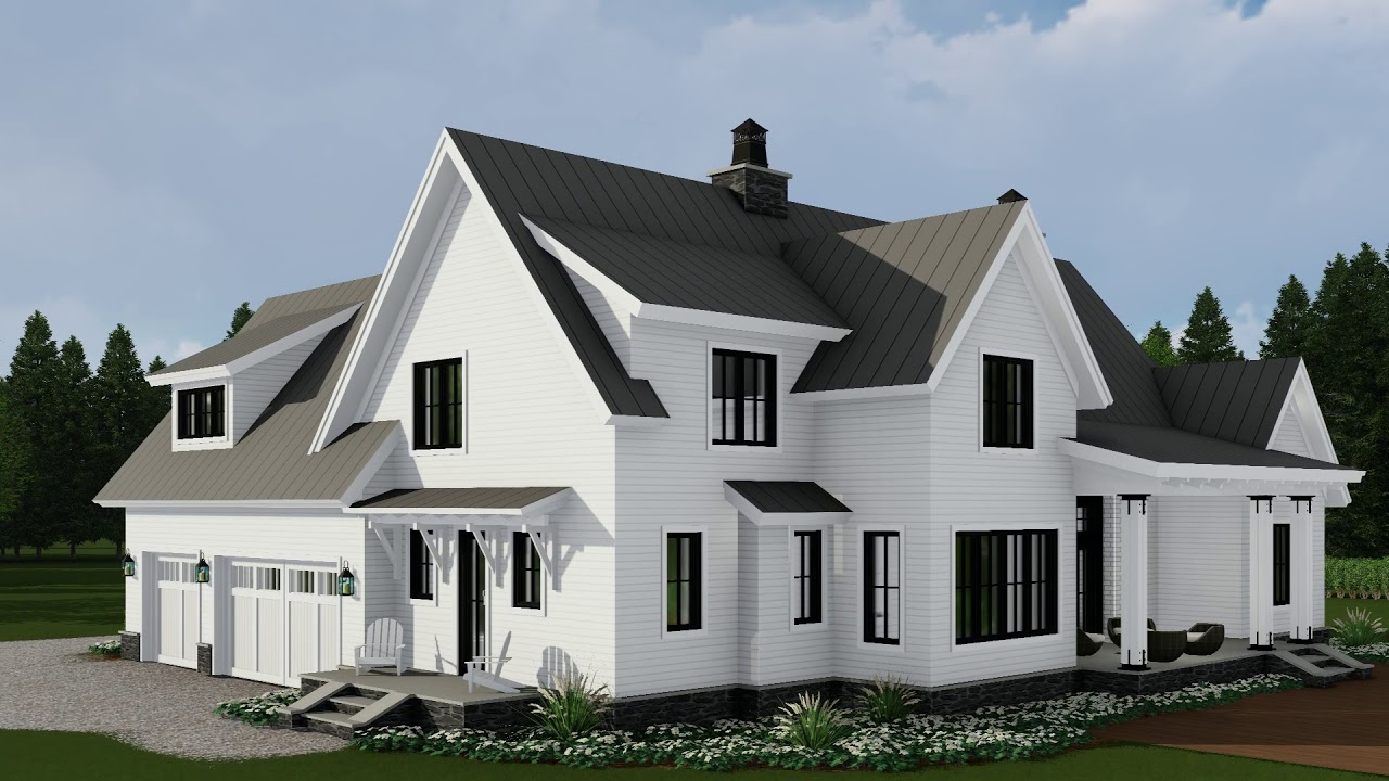 Modern farmhouse house plan 098 00296 youtube for House arch design photos
