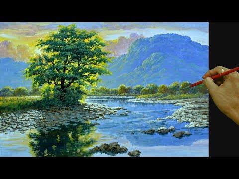 Cara Melukis Lansekap Dengan Sinar Matahari Menyinari Sungai Di Akrilik