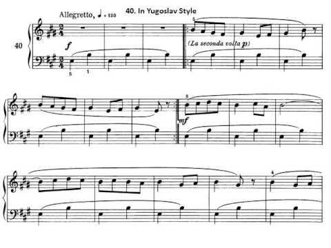 Béla Bartók Piano Mikrokosmos Volumen 2. 40 In Yugoslav Style Audición. Partitura