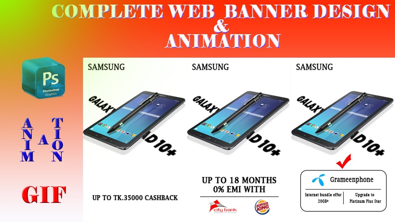 How to Create Web AD Banner ।  Google AD Banner Design in Photoshop- Part-3
