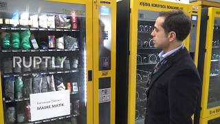 Turkey: Vending machine for face masks presented by Turkish company amid coronavirus outbreak