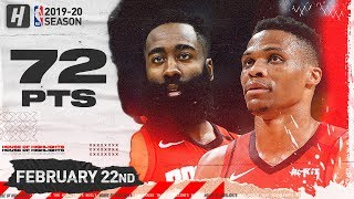 Gambar cover James Harden & Russell Westbrook 72 Points Combined Highlights | Rockets vs Jazz | February 22, 2019