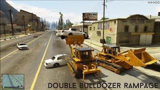 GTA V DOUBLE BULLDOZER RAMPAGE