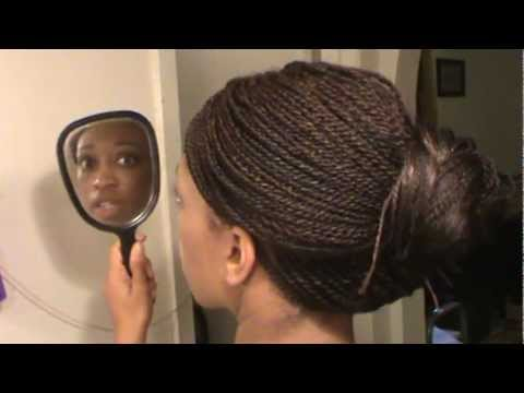 How To Do An Updo Bun Style On Senegalese Twist Micro Braids