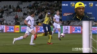 Usain Bolt Scores 2 Goals in Professional Football Debut (2018)