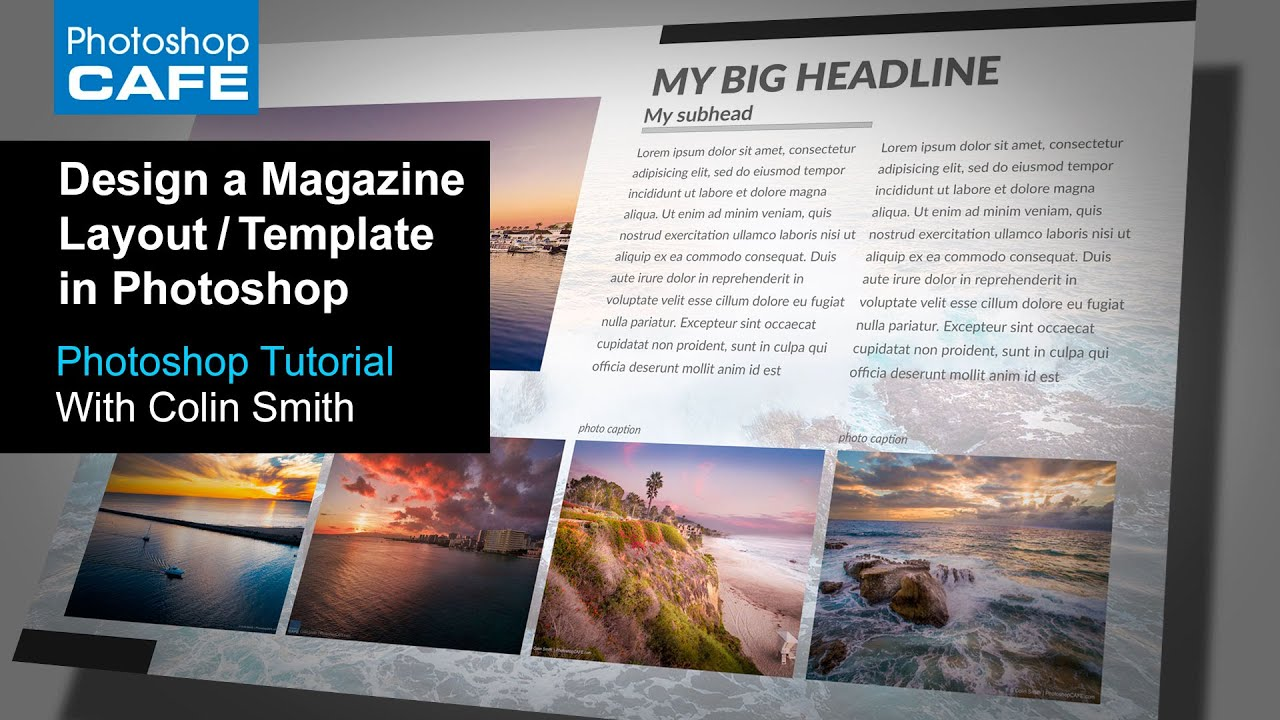 Create a magazine layout template in photoshop tutorial for Magazine layout templates free download