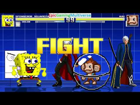 Devil May Cry Characters And DoodleBob And SpongeBob VS AiAi The Monkey In A MUGEN Match / Battle