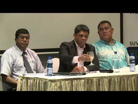 Fijian Acting Prime Minister Aiyaz Sayed-Khaiyum answers questions raised at the Fiji Business Forum