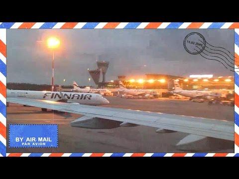 Finnair Airbus A321 landing at Helsinki Vantaa Airport, HEL - cabin view - Flight AY668