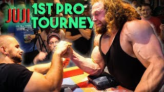 Bodybuilder Tries Pro Arm Wrestling Tournament