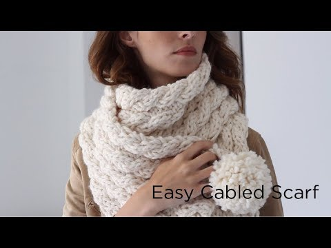 Easy Cabled Scarf Knit With Thick Quick Bonus Bundle Youtube