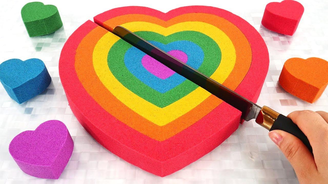 Satisfying Video l Kinetic Sand Rainbow Heart Cutting ASMR #9