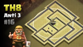 Clash of Clans ⚫ Replays of TH8 Anti 3 Star War Base #16