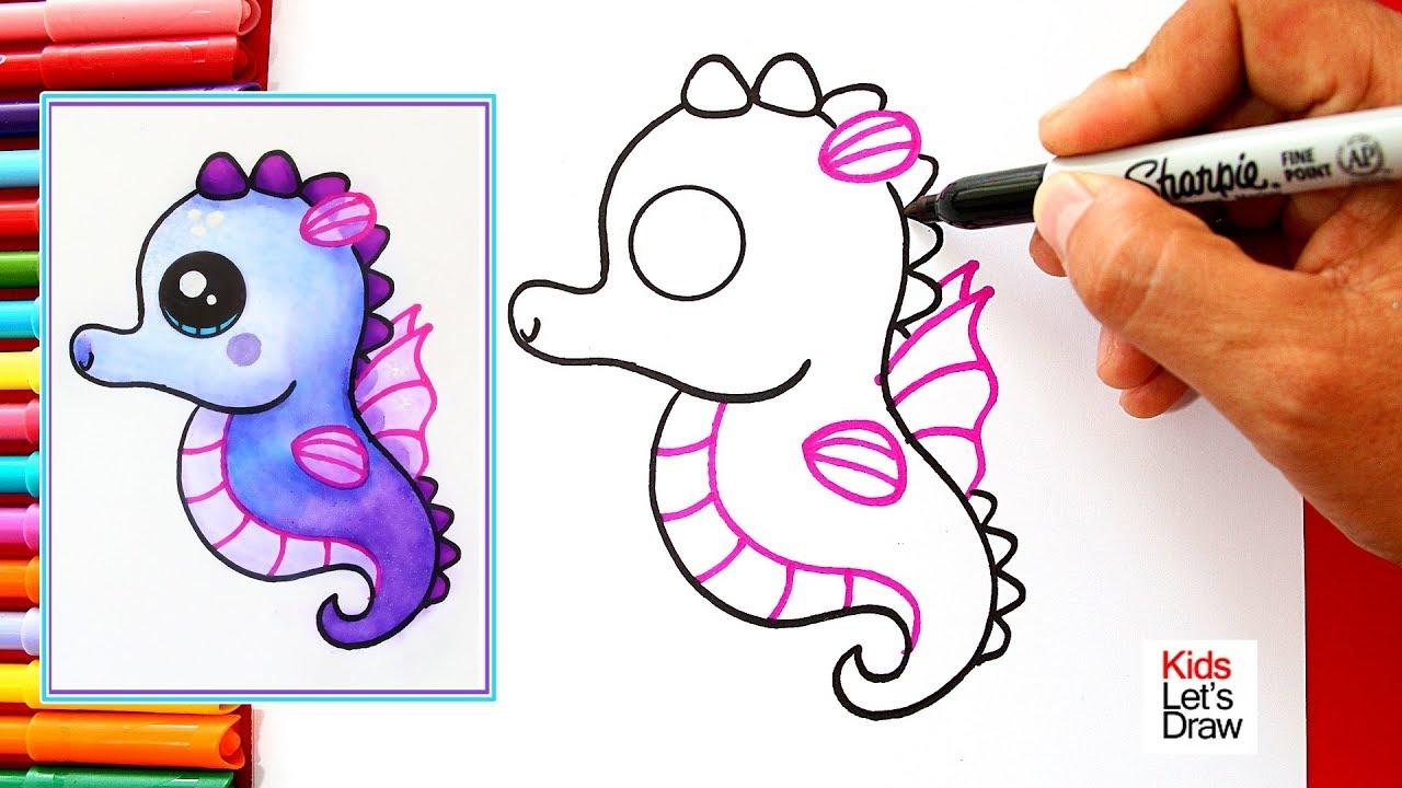 Como Dibujar Y Pintar Un Tierno Caballito De Mar En Tonos Morados