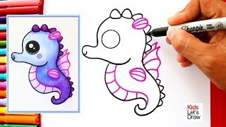 Cómo dibujar y pintar un CABALLITO DE MAR Kawaii | How to Draw a Cute Seahorse