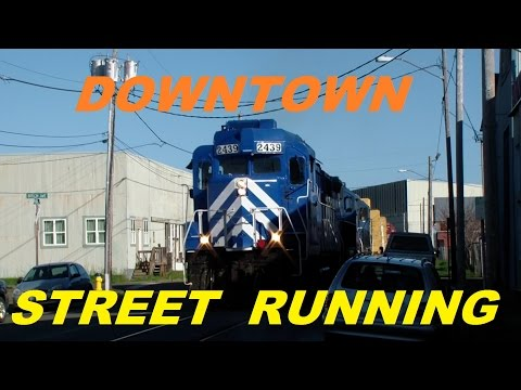 Railroad Train Running through Downtown City Streets ~ Ex Southern Pacific Branch