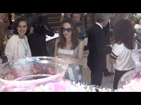 EXCLUSIVE - Angelina Jolie arrives at Guerlain Flagship store in Paris