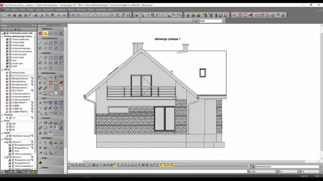Akademia Elitecad Projekt Domu Z Poddaszem Użytkowym Lekcja 12