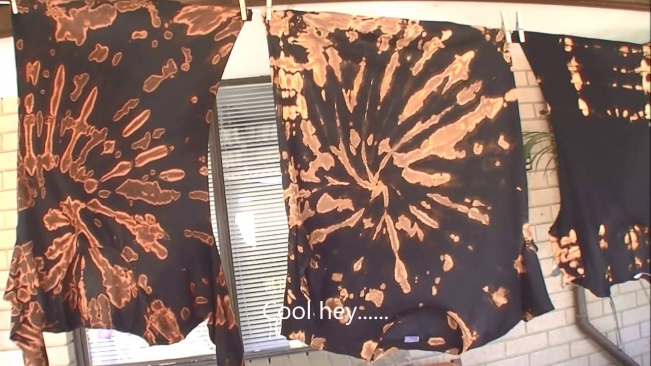 Tie Dye Bleaching A Black T Shirt Youtube