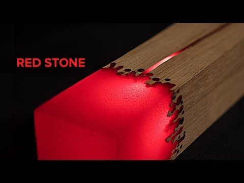 EPOXY L.E.D. LAMP. RED STONE   DIY  PROJECT