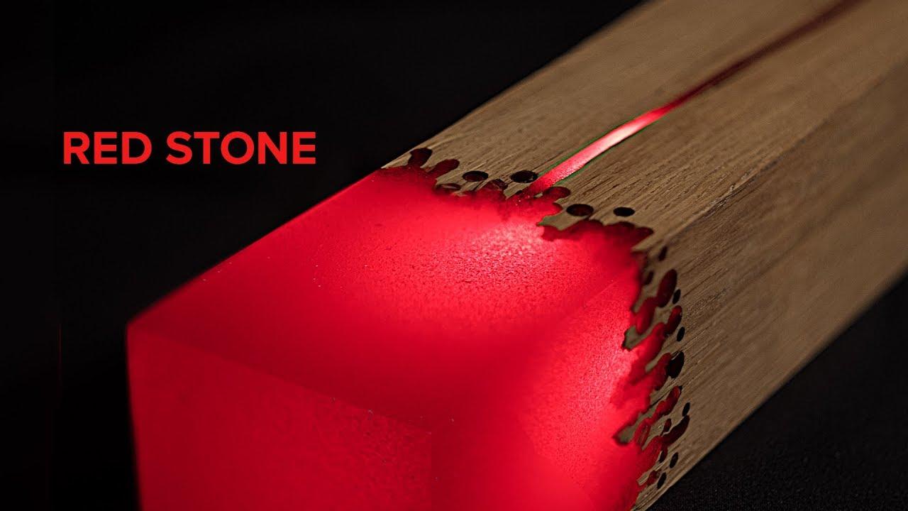 Epoxy L E D Lamp Red Stone Diy Project