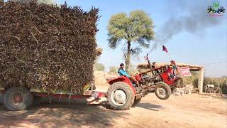 Massey Ferguson 240 Small Tractor Pulling Heavy loaded Trolley   Massey Stunt