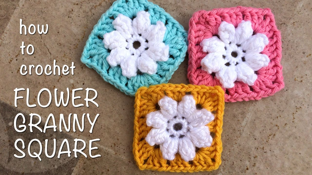 How To Crochet Flower Granny Square - YouTube