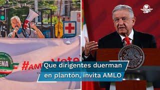 El presidente Andrés Manuel López Obrador dijo que los integrantes del Frente Nacional Anti-AMLO tienen garantizados sus derechos, atención médica y cuidado