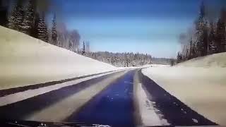 Момент аварии, в которую попала семья Храмцовых на трассе Пермь-Екатеринбург