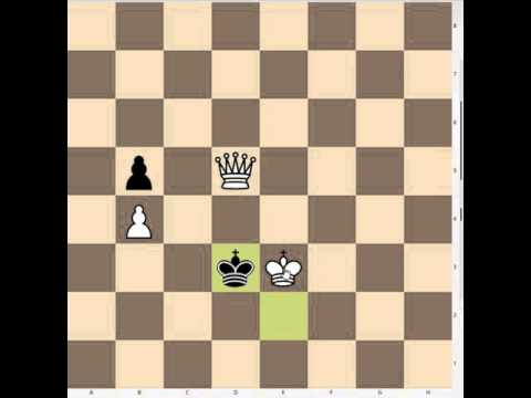 Atomic chess: endgame with adjacent kings, one queen and a blocked pawn