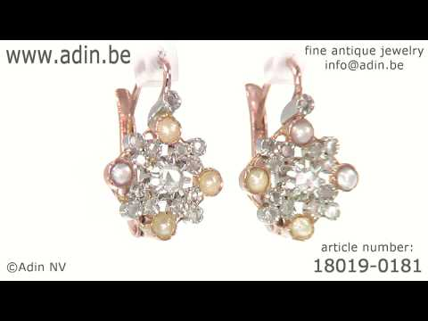 Estate earrings with pearls and diamonds Belle Epoque Art Deco. (Adin reference: 18019-0181)