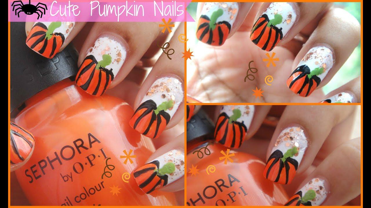Cute Pumpkin Nails for Fall/Halloween ♥ - YouTube