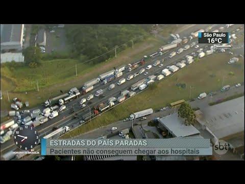 Caminhoneiros realizam bloqueios nas principais estradas do país | SBT Brasil (24/05/18)