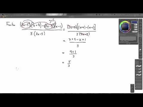 Factor [(2x-5)(x+4)-(2x-5)(x-1)]/[3(2x-5}]