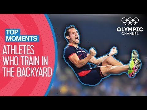 Top 5 Athletes who Train in their Backyard!   Top Moments